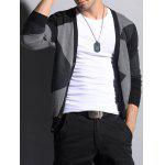 V Neck Color Matching Button Up Cardigan - PRETO