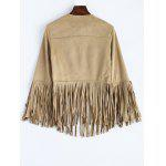 cheap Fringed Faux Suede Open Front Jacket