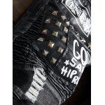 Plus Size Zipper Fly Stud and Appliques Design Straight Leg Jeans photo