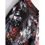 Plus Size Zipper Fly Color Block Abstract Print Straight Leg Jeans - COLORMIX