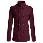 cheap Stand Collar Zipper Design Double Breasted Woolen Blends Coat