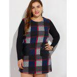 cheap Plus Size Long Sleeve Checked Mini Dress