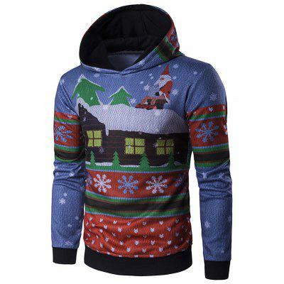 Hooded Father Christmas and House Print Hoodie snowman print pullover christmas hoodie