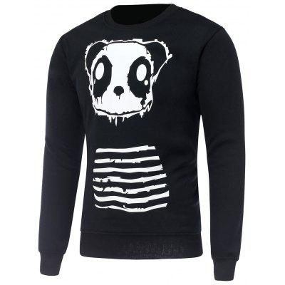 Crew Neck Long Sleeve Panda Print Sweatshirt