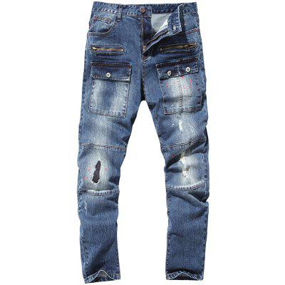 Buy BLUE 38 Zippered Paint Splatter Multi Pocket Ripped Jeans for $35.14 in GearBest store