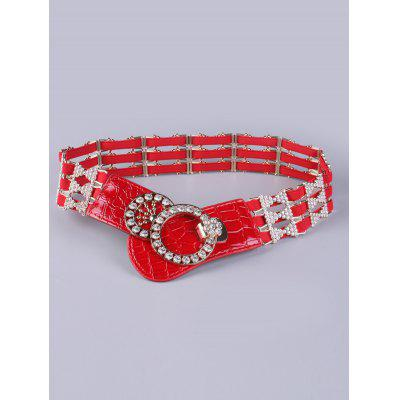 Rhinestoned Round Hollowed Stretch Belt