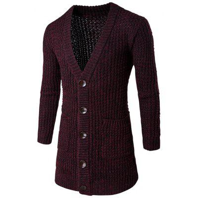 Pocket Button Front V Neck Knitted Cardigan