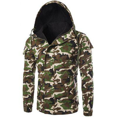 Pocket Camo Hooded Flocking Jacket