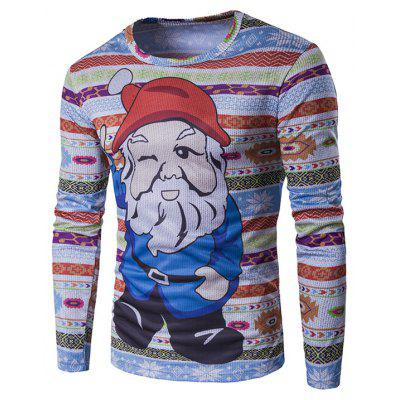 Crew Neck 3D Father Christmas Cartoon Print T-Shirt