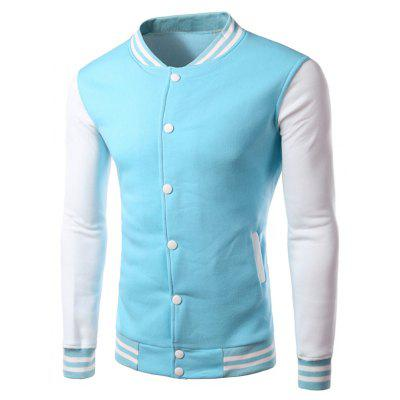 Buy AZURE Color Block Panel Baseball Jacket for $17.15 in GearBest store
