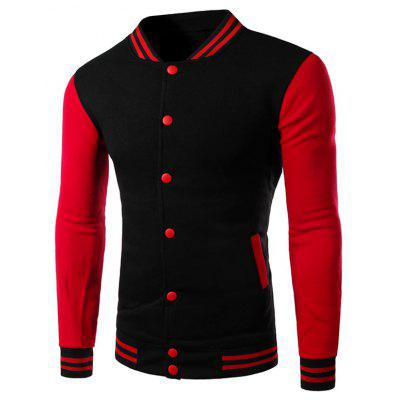 Buy BLACK Color Block Panel Baseball Jacket for $17.15 in GearBest store