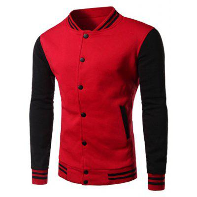Buy RED Color Block Panel Baseball Jacket for $17.15 in GearBest store