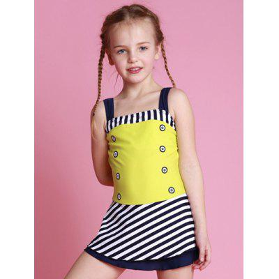 Girls Striped One Piece Swimsuit