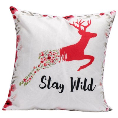 Deer Floral Printed Linen Cushion Throw Pillow Cover