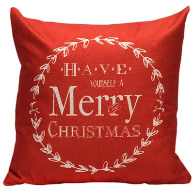 Buy RED Merry Christmas Linen Cushion Throw Pillow Cover for $4.80 in GearBest store