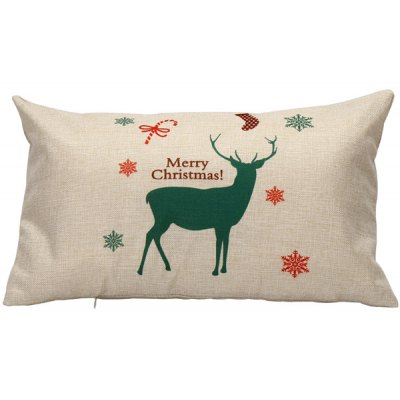 Elk Printed Christmas Bed Throw Pillow Cover