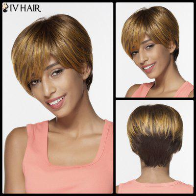 Siv Colormix Short Side Bang Silky Straight Pixie peruca de cabelo humano