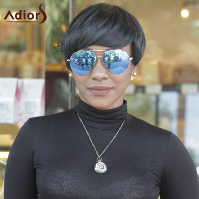 Buy BLACK Adiors Hair Synthetic Fluffy Full Bang Short Straight Wigs for $14.41 in GearBest store
