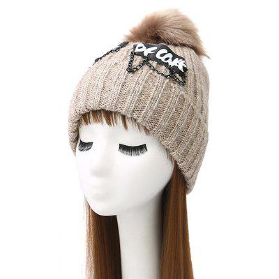 Pom Ball Chain Letter Acrylic Knit Hat