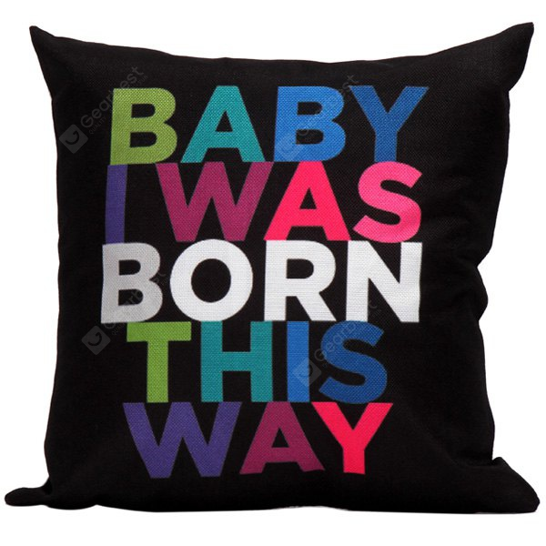 Baby Born Letter Printed Linen Cushion Throw Pillow Cover