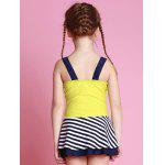 Girls Striped One Piece Swimsuit - JAUNE