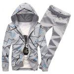 Printed Zip Up Hoodie and Casual Pants Twinset - GRAY