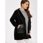 cheap Plus Size PU Leather Trim Coat