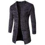 Pocket Flat Knitted Open Front Cardigan - DEEP GRAY