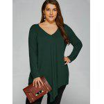 Plus Size Long Sleeve Asymmetrical T-Shirt - GREEN