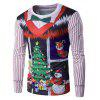 Crew Neck 3D Christmas Bow Tie Costume Faux Twinset Print T-Shirt - COLORMIX