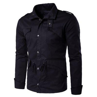 Multi Pocket Drawstring Waist Epaulet Design Jacket