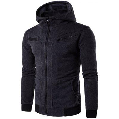 Buy DEEP GRAY L Zipper Embellished Faux Twinset Hoodie for $23.57 in GearBest store