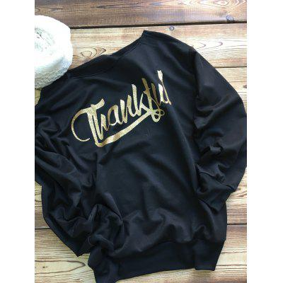 Boat Neck Thankful Arrow Print Sweatshirt
