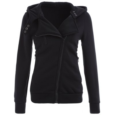 Inclined Cotton Zip Up Hoodie