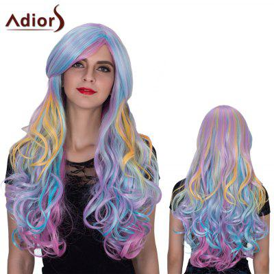Adiors Long Color Mixed Oblique Bang Wavy Film Character Synthetic Wig