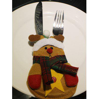 Christmas Party Table Decor Deer Shape Forks Tableware Cover Bag