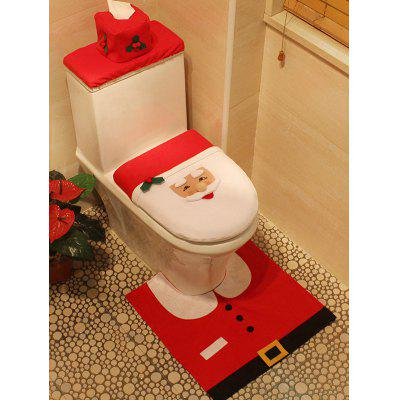 Buy RED 3PCS Christmas Supplies Santa Bathroom Toilet Closestool Cover Floor Mats for $10.50 in GearBest store