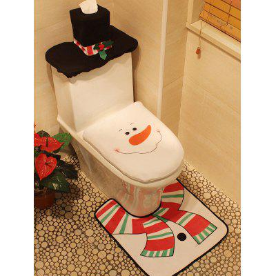 Buy WHITE 3PCS Christmas Supplies Snowman Bathroom Toilet Closestool Cover Floor Mats for $10.40 in GearBest store