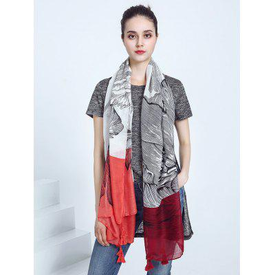 Voile Color Block Tassel Eagle Print Scarf