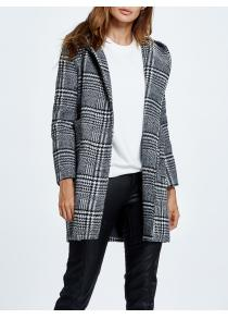 Wool Blend Hooded Checked Coat