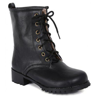 Tie Up-Runde Toe Flache Ankle Boots