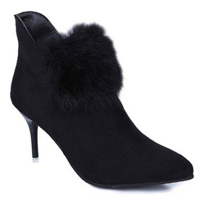 Faux Fur Zip Ankle Boots
