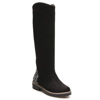 Suede Embroidered Knee High Boots