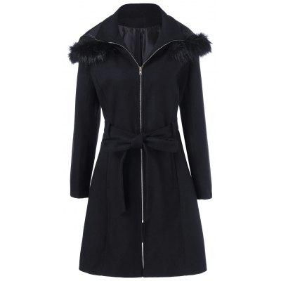 Faux Fur Collar Tie Belt Coat
