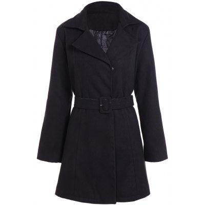 Tie Belt Plus Size Overcoat