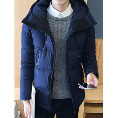 Zipper Design Hooded Puffer Jacket
