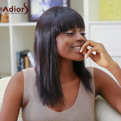 Attractive Medium Straight Full Bang Black Women's Synthetic Hair Wig