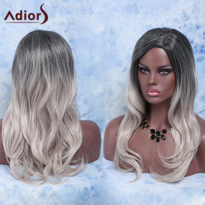 Trendy Long Slightly Curled Mixed Color Side Parting Women's Synthetic Hair Wig