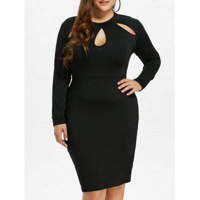 Buy BLACK L Plus Size Sheath Dress with Long Sleeves for $18.11 in GearBest store