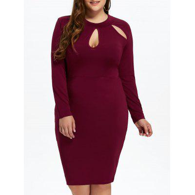 Buy WINE RED L Plus Size Sheath Dress with Long Sleeves for $18.11 in GearBest store